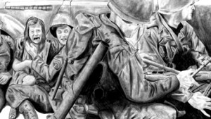War Illustration in pencil