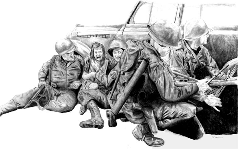 War Illustration in pencil
